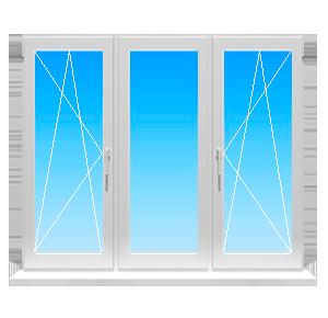 Пластиковое окно с тремя створками одна глухая и два поворотнооткидных