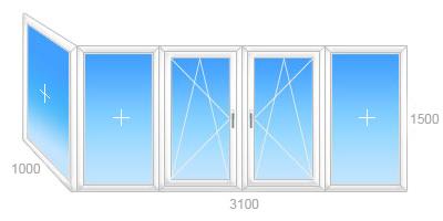 Г-образный балкон: 1000 х 3100 h=1500 остеклить в Марьиной Горкае